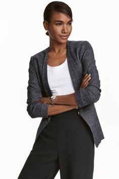 H&M Jacket in a Textured Weave in Dark Blue/Patterned, £29.99