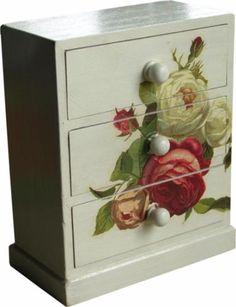 joyero 3 cajones color marfil old roses  madera,papel de arroz,pinturas acrilicas decoupage