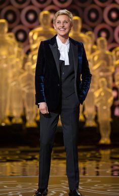 I'm so in love with this velvet jacket by Saint Laurent on Oscars 2014 host Ellen DeGeneres #fashion