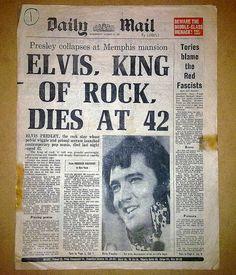 Elvis Presley dies at 42 on August 16, 1977.