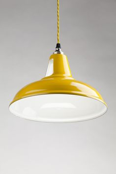 Holloways of Ludlow, Old School Electric, Yellow Spun Steel Pendant | Remodelista