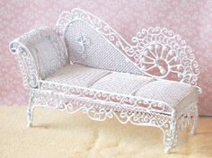 White Wire Chaise (WW52) - White Wire Furniture. Over 10,000 similar dolls house miniature products available from www.thedollshousestore.co.uk