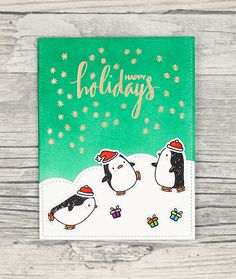 Noch mehr Pinguine … – Even more penguins … Arctic Penguins, Christmas Cards, Xmas, Mama Elephant, Cata, Lawn Fawn, Hero Arts, Making Ideas, Card Ideas