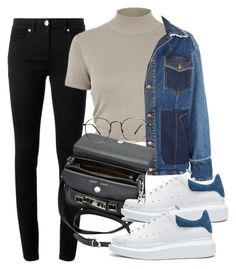 """""""Untitled #3487"""" by camilae97 ❤ liked on Polyvore featuring Versace, River Island, McQ by Alexander McQueen, Proenza Schouler and Alexander McQueen"""