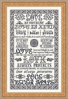 "It is not proud. Love is not rude, it is self-seeking....."". This gorgeous new design was stitched on 32 Ct. Country French Chantilly Linen with Gentle Art Sampler Threads"
