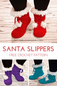 Santa Slippers Free Crochet Pattern Source by coolcreativity clothes ideas Crochet Crafts, Easy Crochet, Crochet Projects, Autumn Crochet, All Free Crochet, Crochet Granny, Crochet Ideas, Diy Crafts, Crochet Slipper Boots