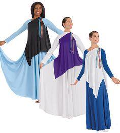 66a4964ee4e6 Eurotard: 13844 Asymmetrical Streamer Tunic Praise Dance Dresses, Praise Dance  Wear, Worship Dance