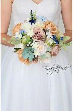 Pastel spring wedding brides bouquet in with mauve, dusty rose, beige, blush pink, light peach and white with babies breath and roses accented with seeded eucalyptus and greenery perfect for small intimate wedding Bridal Bouquet Coral, Spring Wedding Bouquets, Blue Wedding Flowers, Bride Bouquets, Flower Bouquet Wedding, Purple Wedding, Gold Wedding, Davids Bridal Gowns, Small Intimate Wedding