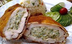 Zöldfűszeres, krémsajtos csirkemell -   Hozzávalók 4 személyre:      4 db csirkemell filé     1/2 cs snidling     3-4 levél friss bazsalikom     3-4 levél friss oregánó     4 db cikk /medve, mackó vagy bár milyen natúr /kenhető sajt     só     őrölt fehér bors  A panírozáshoz:      finomliszt     tojás     zsemlemorzsa  A sütéshez:      étolaj Meat Recipes, Real Food Recipes, Chicken Recipes, Healthy Recipes, Hungarian Cuisine, Hungarian Recipes, Easy Healthy Breakfast, Breakfast Recipes, Good Food