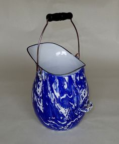 Very Rare Cobalt Blue & White Large Swirl Graniteware PUMP PITCHER