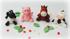Farm animal edible cake topper cow horse pig sheep