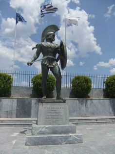 statue built to commemorate King Leonidas at Sparts, greece. This is huge when you are next to it