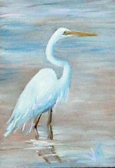 Head island White Egret Original art painting by Nita Leger Casey - Hilton Head island White Egret, original painting by artist Nita Leger Casey Watercolor Bird, Watercolor Animals, Paintings I Love, Original Paintings, Original Art, Acrylic Painting Inspiration, Louisiana Art, White Egret, Coastal Art
