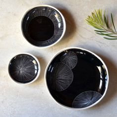 Pebble bowls ~ black with hand-carved pattern