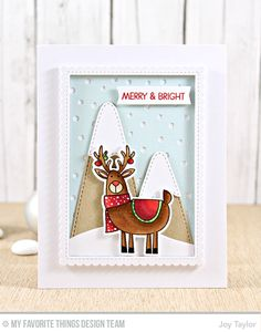 Merry Everything Stamp Set and Die-namics, Snow-Capped Mountains Die-namics, Stitched Rectangle Scallop Edge Frames Die-namics, Snowfall - Vertical Die-namics, Tag Builder Blueprints 6 Die-namics, Scenic Safari Die-namics - Joy Taylor  #mftstamps