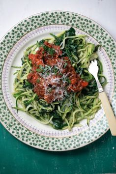 Spagetti Bolognese made with Zucchini instead of wheat noodles.  YUM!  #gluten free, #grain free