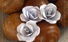 Paper Rose buttonholes made from recycled beautiful grey patterned envelope insides!