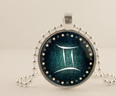 Gemini birth sign, Zodiac, Astrology glass and metal Pendant necklace Jewelry.
