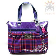 Coach Poppy Tote | Coach Poppy Tartan Glam Tote Bag #15886 | Coach 15886