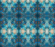 Butterflies on Blue fabric by lilygreenwood on Spoonflower - custom fabric