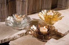 IMAX Hanna Glass Floral Votives - Set of 3 – Modish Store