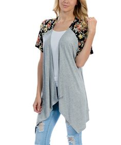 Loving this Gray & Black Floral Sidetail Cardigan on #zulily! #zulilyfinds