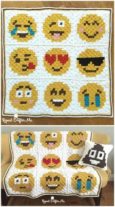 Crochet Emoji C2C Graphgan Pattern - Crochet Afghan Patterns - 41 Free Patterns for Beginners - DIY & Crafts