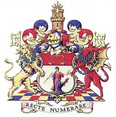 The symbolism of the arms of the Institute of Chartered Accountants in England and Wales; symbolic details included are the figure of Economia and a tower whose twin turrets allude to the double-entry system of book-keeping. (The Institute of Chartered Accountants in England and Wales)