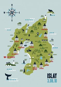 Lovely map of Islay by Kate McLelland. Islay, known as The Whisky Isle, is home to seven of Scotland's longest-producing, most celebrated whisky distilleries --including Ardbeg, Bowmore, Caol Isla, Lagavulin and Laphroaig.