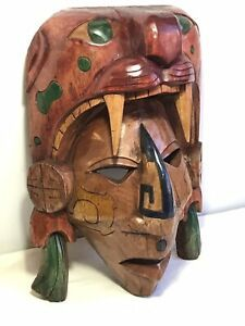 Take A Look At This Beautiful Handmade Mayan Mask Hand Carved Wood Mayan Jaguar Mexican Mask Click Picture For More Informa Mayan Mask Aztec Mask Aztec Art