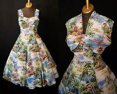 Rare 1950's Royal Hawaiian Rayon print two piece new look dress with bolero jacket tiki pin up girl vlv - size Medium