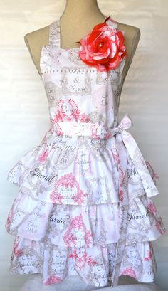 Ruffled Wedding Apron | Nice use of a bold flower. I like how the bib extends past the straps, it's interesting.