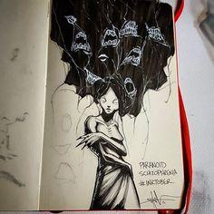 Paranoid Schizophrenia - day 18 of #inktober illnesses/disorders  #illustration #popeofhell_art #fear #creepyart #horrorart #inktober2016
