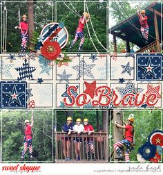 So Brave Pocket Style digital scrapbook layout by Juli Fish. Credits -Life Stories Doodle Templates #8 by Sugary Fancy , Land That I Love by Jady Day Studio both from www.sweetshoppedesigns.com patriotic, teen, camp, summer, multiple photos, square photos, template, stars, flowers, red, white, blue, grid, project life