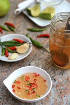 Nuoc Mam Cham - Vietnamese Dipping Fish Sauce (Nước Chấm/Nước Mắm Chấm) I have been looking for this recipe forever!  Since it is my new favorite food:)