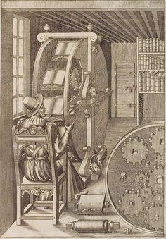 Le diverse et artificiose machine, by Agostino Ramelli (1588) -- engraving of Ramellis famous bookwheel