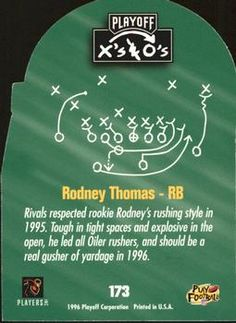 1996 Playoff Prime - X's and O's #173 Rodney Thomas Back
