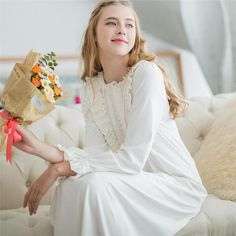 c35a176201 Women Dresses Princess Cotton Long Nightgowns Lace Vintage Romantic Sleepwear  White Sweet Home Dress Plus Size Nightdress