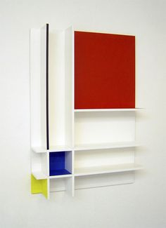 Mondrian style wall cabinet by Athene Galiciadis and Cedric Carles