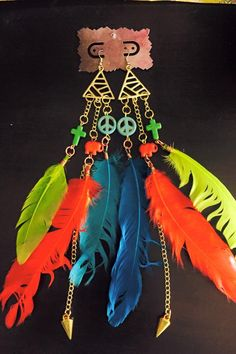 aaseagypsy jewels; triangle peace love colorful festival feather earrings;