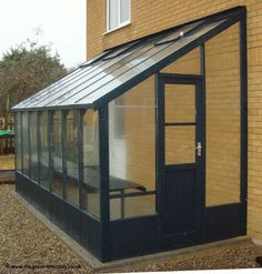 Painted Timber Lean-to Greenhouse - 14ft x 6.5ft - Olive Green - Click Image to Close