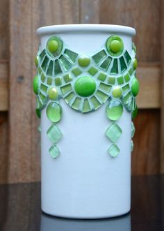 Vase green glass and ceramic mosaic abstract