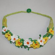 Spring Necklace  textile collar daffodils crochet by Lynwoodcrafts, £17.00