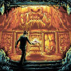 Officially licensed screenprint for Indiana Jones & The Raiders of the Lost Ark. Available from Dark Ink Art. Pearl Jam Fenway Park, Dan Mumford, Indiana Jones Films, Amblin Entertainment, The Dark Knight Trilogy, Dark Ink, Bojack Horseman, Nothing To Fear, Arte Horror