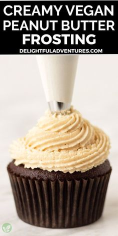 Quick, easy, creamy vegan peanut butter frosting that's light, fluffy, and perfect for cakes, cupcakes, macarons, brownies, and more. This simple homemade recipe makes the best dairy-free peanut butter icing that pairs perfectly with chocolate desserts (and it's naturally gluten-free!). Once you learn how to make it, you'll want to make it over and over again! Easy Vegan Cake Recipe, Gluten Free Cupcake Recipe, Vegan Cupcake Recipes, Vegan Gluten Free Desserts, Vegan Cupcakes, Homemade Recipe, Vegan Treats, Sweets Recipes, Butter Icing