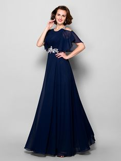 080015e82f7 A-Line Jewel Neck Floor Length Chiffon Mother of the Bride Dress with  Beading   Appliques   Side Draping by LAN TING BRIDE®. Plus Size Vintage  DressesPetite ...