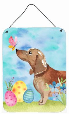 Red Tan #dachshund Easter Wall or Door Hanging Prints BB9616DS1216