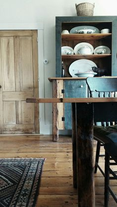 Rustic table and dresser with vintage lilim