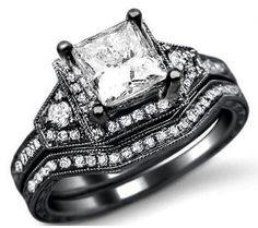 1.60ct Princess Cut Diamond Engagement Ring Bridal Set 14k Black Gold