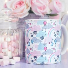 Cute Pastel Mug - Enjoy The Little Things Collection - Dream Pattern